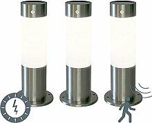 QAZQA Design / Modern / 3er-Set Außenleuchte / Sockelleuchten Rox 30 Stahl / Silber / nickel matt Solar und Dämmerungsschalter und Sensor / Bewegungsmelder / Sensor / Bewegungsmelder / IR / Außenbeleu