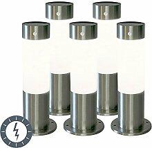 QAZQA Design / Modern / 5er-Set Außenleuchte / Sockelleuchte Rox 30 Stahl / Silber / nickel matt Solar und Dämmerungsschalter und Sensor / Bewegungsmelder / Sensor / Bewegungsmelder / IR / Außenbeleuc