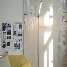 QAZQA Design / Modern / Stehleuchte / Stehlampe / Standleuchte / Lampe / Leuchte Lazy Lamp Stahl / Silber / nickel matt Dimmer / Dimmbar / Innenbeleuchtung / Wohnzimmer / Schlafzimmer Metall Länglich
