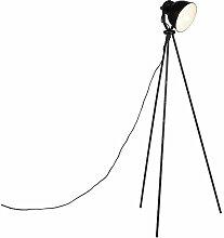 Qazqa - Industrie-Stehleuchte schwarz mit silber -