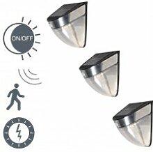 QAZQA Modern 3er Set Außenleuchte/Wandleuchte fur Außen/Gartenlampe/Gartenleuchte LED schwarz - Solar und Sensor/Bewegungsmelder/Sensor/Bewegungsmelder/IRa/Außenbeleuchtung Aluminium/