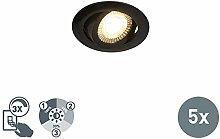QAZQA Modern 5er Set moderne LED-Einbaustrahler