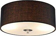 QAZQA Modern Deckenleuchte / Deckenlampe / Lampe / Leuchte Drum mit Schirm 30 rund schwarz/ 2-flammig / Innenbeleuchtung / Wohnzimmer / Schlafzimmer Glas / Metall / Textil / Rund LED geeignet E27 Max.