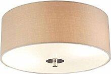 QAZQA Modern Deckenleuchte / Deckenlampe / Lampe / Leuchte Drum mit Schirm 30 rund beige/ 2-flammig / Innenbeleuchtung / Wohnzimmer / Schlafzimmer Glas / Metall / Textil / Rund LED geeignet E27 Max. 2