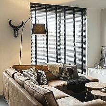 QAZQA Modern Stehleuchte / Stehlampe / Standleuchte / Lampe / Leuchte Bend mit schwarzem Schirm / Innenbeleuchtung / Wohnzimmer / Schlafzimmer Metall / Stein / Beton / Länglich LED geeignet E27 Max. 1