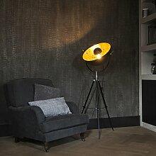 QAZQA Modern Stehleuchte / Stehlampe / Standleuchte / Lampe / Leuchte Este matt schwarz / Innenbeleuchtung / Wohnzimmer / Schlafzimmer / Küche Metall Rund LED geeignet E27 Max. 1 x 40 Wa