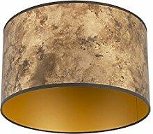 Gold//Messing Rund gerade Schirm Pendelleuchte,Schirm Stehleuchte QAZQA Baumwolle Lampenschirm velours 35//35//20 taupe