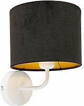 QAZQA Retro Vintage Wandlampe weiß mit schwarzem
