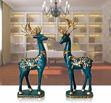 QAZWSX Zuhause Paar Hirsch Ornamente Wohnzimmer