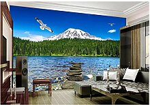 Qbbes Fototapete 3D Wallpaper Schnee Berg Wald