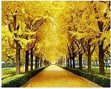 Qbbes Tapete Herbst Ahorn Blätter Gold Baum 3D Tv