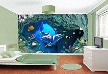 QBTE 3D-Tapete für Kinderzimmer, Motiv: Delfin,