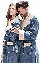 QCHY Coral Samt Bademantel Paar Pyjama, Blauer