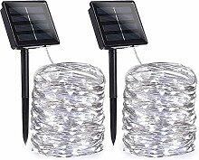 Qedertek (2 Stück) Solar Lichterkette Außen, 22M