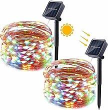 Qedertek Solar Lichterkette Aussen, 2 Stück 12M