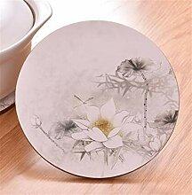 Qerw Drucken Runde Hot Pot Cotton Mat Bowl Mat