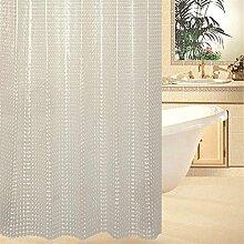 QEWA® 3D Duschvorhänge Shower curtains EVA Wasserdicht Schimmelresistent Durchsichtig Verdickte Badezimmer Geschnittene Vorhänge Mit Haken (70,86 * 70,86 Zoll) , 180cm wide *180cm tall white
