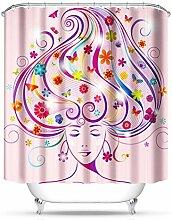 QEWA® Brauch Shower Curtains Badvorhang Stoff Polyester Modern Duschvorhang Badezimmer Wasserdicht Vorhänge Bad Dekor , butterfly female 150*180 high