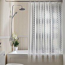 QEWA® Duschvorhänge EVA Wasserdicht Schimmelresistent Durchsichtig Verdickte Badezimmer Duschvorhang mit Haken (70,86 * 70,86 Zoll) , 260 width *180 high