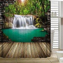 QEWA® Duschvorhänge Polyester 3D Digitaldruck Wasserdicht Anti-Static Mouldproof Cartoon Druck Verdickte Badezimmer Trennwand Vorhang Bad Vorhang mit C Haken , B , 180*180cm