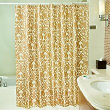 QEWA® Duschvorhang Shower Curtains Golddrucke Wasserdicht Schimmelresistent Verdickung 100% Polyester Badezimmer Trennvorhang Vorhänge (32 * 71 Zoll) , 220*180cm