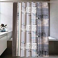 QEWA® Duschvorhang Shower Curtains Vorhang PEVA Briefdruck Wasserdicht Antistatisch Mouldproof Verdickt Nicht verblassen Badezimmer Trennwand Vorhang Badvorhang Mit C Haken (70,86 * 78,74 Zoll) , 180*180cm