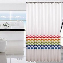 QEWA® Duschvorhang Shower Curtains Wasserdicht Schimmelresistent Verdickung 100% umweltfreundlicher Polyester Badezimmer Trennvorhang Vorhänge Bunt (120 * 180cm) , 180*180cm
