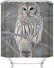 QEWA® Eule Duschvorhang Shower Curtains Polyester 3D Wasserdicht Mouldproof Verdickt Badezimmer Trennwand Vorhang Badvorhang , owl 150*180 high