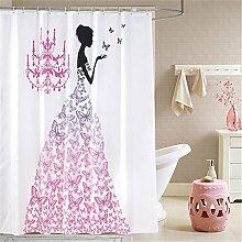 QEWA® Shower Curtains Duschvorhänge Romantische rosa Karikatur-Schmetterlings-Kleid-Flügel Hübsches Mädchen druckte wasserdichtes Polyester-Badezimmer-Duschvorhang mit Haken , 180*180cm