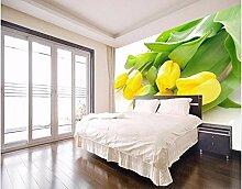 QFAZO Fototapete Stereoskopische gelbe Tulpen TV