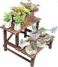 QFF Outdoor Korrosionsschutz Holzbalkon Blumenständer Boden - Typ Massivholz Multi - Fleisch Blume Regal Balkon Mehrschicht Leiter Blumentopf Rack ( größe : 90*61*46cm )
