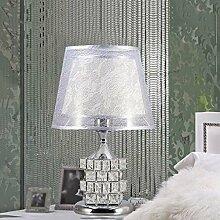 QFF Tischlampe Moderne Schlafzimmer Nachttischlampe Kristall Europäische Luxus Hochzeit Tischlampe Kreative Würfel Warm Schlafzimmer Dekoration ( farbe : Silber )
