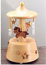 QFSLY Spieluhr Karussell Aus Holz Musik-Box aus