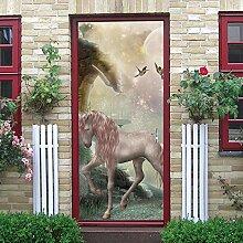 QHDHGR Türaufkleber Pink & Pferd Selbstklebend