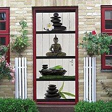 QHDHGR Türaufkleber Stein & Orchidee und Buddha