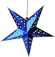 QHGstore 30 / 45cm Glänzendes Stern-Papierlampenschirm-Dekor-Fertigkeit für Hochzeits-Dekoration-bunter Weihnachtsdekor blau 45cm
