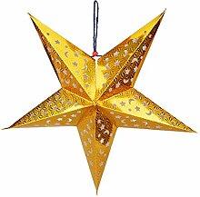 QHGstore 30 / 45cm Glänzendes Stern-Papierlampenschirm-Dekor-Fertigkeit für Hochzeits-Dekoration-bunter Weihnachtsdekor gold 45cm