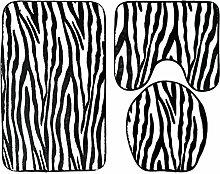 QHGstore 3pcs / set Flanell-rutschfeste Badezimmer-Wolldecke-Sätze Bad-Matten-Kontur-Wolldecke-Toiletten-Deckel-Abdeckung # 1 45 × 75cm + 45 × 40cm + 43 × 37cm