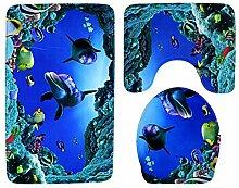 QHGstore 3pcs / set Flanell-rutschfeste Badezimmer-Wolldecke-Sätze Bad-Matten-Kontur-Wolldecke-Toilettendeckel-Abdeckung # 3 45 × 75cm + 45 × 40cm + 43 × 37cm