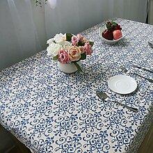 QHGstore Chinese Style Retro blaue und weiße Porzellan Baumwolle Leinen Küchentischdecke 90*90cm