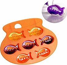 QHGstore Einfach Sch?ne Fisch-Form-Silikon-Form-Eis-Werkzeuge Schokoladen-Eis-Form Zuf?llige Farbe
