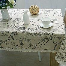 QHGstore Elegante Weltkarte Dinning Couchtisch Baumwollleinenstoff Covering 140*140cm