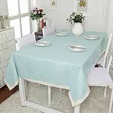 QHGstore Elegantes Muster blaue Blumen Dinning Kaffeetisch Baumwollleinenstoff Covering 90*140cm