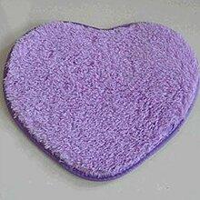 QHGstore Herz geformte rutschsichere Soft getufteter Teppich Mat Teppichboden Matten Bereichs Wolldecke Lila 40*50cm