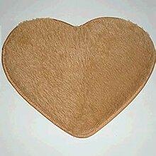 QHGstore Herz geformte rutschsichere Soft getufteter Teppich Mat Teppichboden Matten Bereichs Wolldecke Khaki 40*50cm
