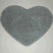 QHGstore Herz geformte rutschsichere Soft getufteter Teppich Mat Teppichboden Matten Bereichs Wolldecke Grau 70*80cm