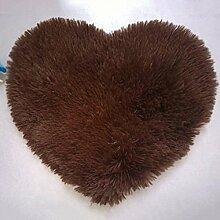 QHGstore Herz geformte rutschsichere Soft getufteter Teppich Mat Teppichboden Matten Bereichs Wolldecke Braun 40*50cm