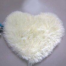 QHGstore Herz geformte rutschsichere Soft getufteter Teppich Mat Teppichboden Matten Bereichs Wolldecke Cremeweiß 70*80cm