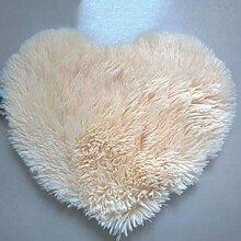 QHGstore Herz geformte rutschsichere Soft getufteter Teppich Mat Teppichboden Matten Bereichs Wolldecke Beige 50*60cm