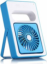 QHGstore Mini-USB aufladbare Ventilator-beweglicher Folding Air Conditioner Mute Fan Blau